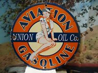 RARE OLD 1959 UNION OIL AVIATION GASOLINE PORCELAIN ENAMEL GAS PUMP SIGN