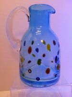 "Leonardo Millefiori Blue Italian Art Glass Pitcher Clear Handle 9"" LARGE"