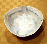 Studio Art Pottery Bowl with Pierced Handles and Gorgeous Glazes