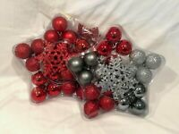 Choose from Two Sets Small Christmas Bulbs and Glitter Snowflakes