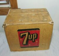 RARE Vintage 1940's 7-UP Cardboard Soda Bottles Carton Box Carrier Sign