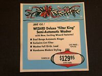 Vintage STORE SIGN Christmas Ornament Holly 1959 WIZARD Filter King Washer #3