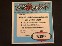 Vintage STORE SIGN Christmas Ornament Holly 1959 WIZARD Automatic Gas Dryer #6