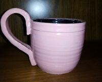 Hand Made Pottery Pink Mug Coffee Cup Wheel Thrown Painted 10 Oz Signed