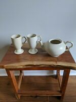 Old Spouter Nantucket pottery pitcher and mugs