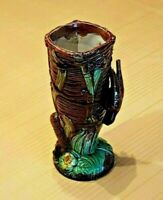 Stunning Majolica Vase with Bird and Cattail Motif