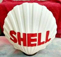 1930's 1940's Original Shell Oil Milk Glass Clam Shell Gas Pump Globe Vintage