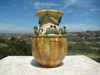 ANTIQUE ART DECO  POTTERY VASE WITH SIX FROGS ON BASKET C.1940 VERY RARE !!!