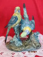 STANGL POTTERY BIRDS DOUBLE GREEN PARAKEETS 3582 VMF VERNA MCPHERSON DECORATOR