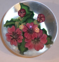 SUPERB VINTAGE ART GLASS PAPERWEIGHT STEVEN LUNDBERG 1988 101158 PINK FLOWERS