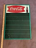"VINTAGE 1950's COCA-COLA FISHTAIL LITHO TIN SIGN - 28"" X 20"""