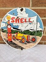 VINTAGE PORCELAIN SHELL GAS AND OIL PUMP SIGN