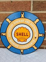 VINTAGE PORCELAIN SHELL MARINE GAS AND OIL PUMP SIGN