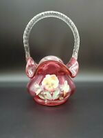 VINTAGE ESTATE FENTON CRANBERRY RED GLASS BASKET HAND PAINTED FLOWERS BY CUTSHAW