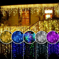 10ft 96 LED Icicle Curtain Lights String Home Party Front Roof Balcony Decor US