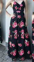 B. Smart Black with Pink Floral Formal long Gown Dress Size 3 4 $29.95