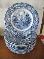 SET OF 12 LIBERTY BLUE DINNER PLATES ENGLAND VINTAGE STAFFORDSHIRE IRONSTONE