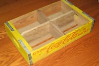 Rare Wood Yellow Coca-Cola 6 pack soda crate 1965 Great COKE BOTTLES collect