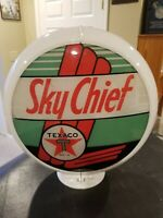 Vintage Original Sinclair Texaco Sky Chief Gas Pump Globe - Complete