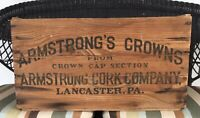 Vintage Armstrong's Crowns Coca Cola Shipping Crate with Bottle Caps Cork Lined