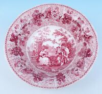 Early Adams Red CHESS PLAYERS Transferware Fruit Bowl Antique Staffordshire