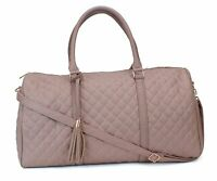 Women's Quilted Leather Weekender Travel Duffel Bag With Rose Gold Hardware -...
