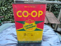 Vintage - Farmers Union - Central Exchange - Co-Op - empty - 2 gal Oil Can
