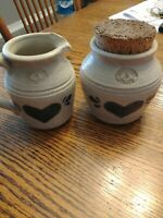 Set of 2 Pinewood Valley Crock with Large cork top and Small matching pitcher