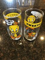 VTG 1966 Lot 2 Arbys Looney Tunes Tweety Bird Glass 6quot;