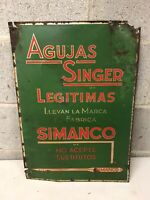 RARE Vintage Singer Sewing machine Needles SIMANCO advertising tin sign Spanish