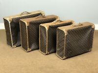 Louis Vuitton Vintage Pullman 4 pc Suitcase Set Monogram Canvas Garment Luggage