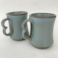 2 Vtg Frankoma Pottery Coffee Cup Mugs Woodland Moss Double Trigger Finger c9 B