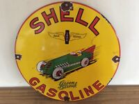 VINTAGE PORCELAIN  SHELL GREEN STREAK  GAS AND OIL SIGN