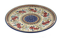 Blue Rose Polish Pottery Red Daisy Dinner Plate