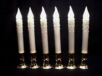 6 Timer Candles 8 Hr Taper Non-flickering LED Warm White Bulb AA battery Window