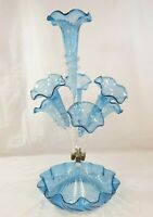 Large Victorian Blue Blown Glass Epergne 7 Fluted Trumpets Centerpiece (MRD)