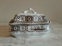 Old Ironstone Caledonia Brown Transferware Covered Soap Dish With Strainer