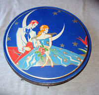 Vintage Queen Anne Candy Tin Classic Art Deco Graphics Man Woman Stars