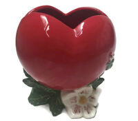 VALENTINE RED HEART VALLONA STARR CALIFORNIA CERAMIC FLORAL VINTAGE PLANTER