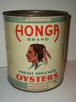 1930 HONGA RIVER Brand OYSTERS INDIAN BRAVE 1Gal Tin Can White&Nelson,Cambridge
