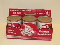 Six Pack of Kendall Metal Motor Oil cans Oil change kit! Gas Service Station Tin