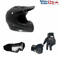 Combo Adult Motorcycle Off Road Helmet. DOT (XL, Matte Black) +Gloves+Goggles