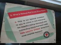 SUPER RARE OLD VINTAGE HAND DONE RED CROSS SHOES ADVERTISING POSTER SIGN