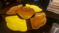 Vintage Lazy Susan 1960s Brown and Yellow