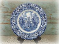 vintage Liberty Blue ironstone plate Staffordshire Independence Hall England 10