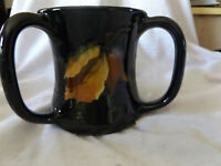 RARE ANTIQUE WELLER POTTERY DICKENS WARE # 818 -3 HANDLE LOVING CUP SIGNED