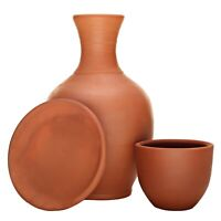 Earthenware Handmade Clay Pitcher with a Cup, Mud Pot for Drinking Water Jug