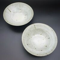 Pair of Speckled Glazed Studio Art Pottery Bowl Signed Stoneware Handthrown