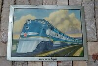 Vintage Tin Over Cardboard TOC Railroad Advertising Sign Missouri Pacific Lines