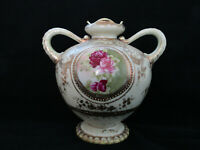 Antique Original Marked Nippon Double Handle Hand Painted Footed Floral Urn